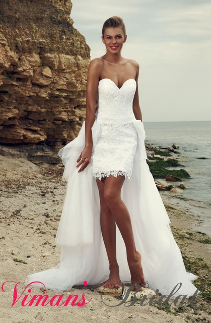 Two Piece Y Sweetheart Lace Short Wedding Dress With Detachable Train Summer Style Bridal Gown China