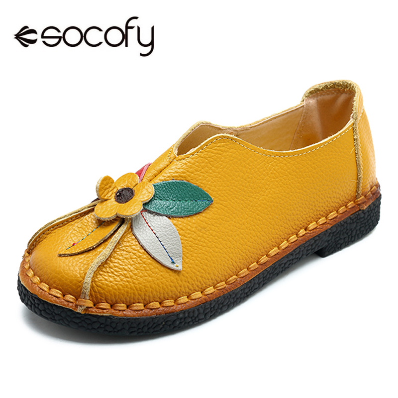 Socofy Retro Genuine Leather Flats Women Shoes Woman Vintage Flower Moccasins Flat Shoes Women Baleriny Casual Slip On Loafers цена 2017
