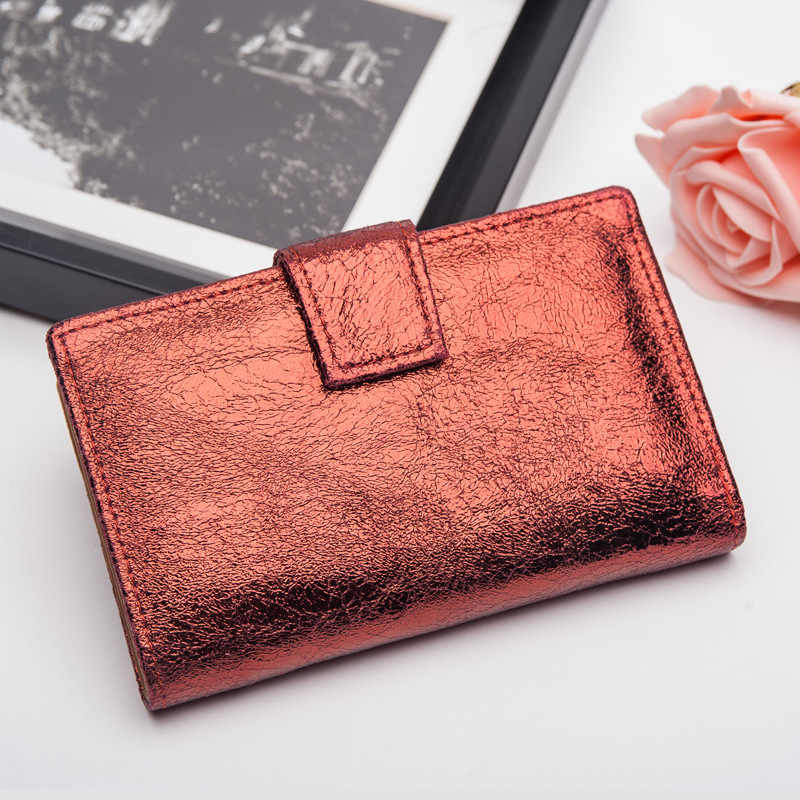 CICICUFF Bright Genuine Leather Women Wallets Retro Cluthes Purse Female Coins Credit Card Holder Purse Wallet