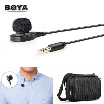 New BOYA BY-HLM1 Wearable Pin Microphone Omnidirection Conderser Lavalier Mic 3.5mm Plug for Canon Nikon Sony Panasonic DSLR Cam