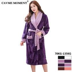 2019 CAVME 6XL размера плюс зимняя Фланелевая пижама; банный халат для Для женщин Femme женские халаты; теплая одежда для сна Ночное платье 70-135 кг