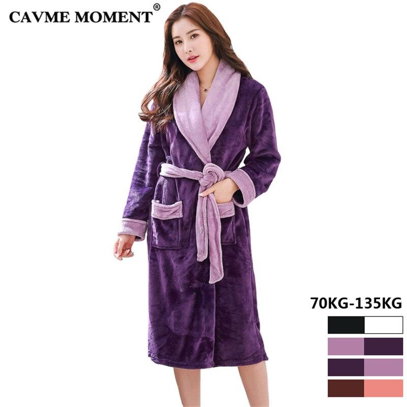 2019 CAVME 6XL grande taille hiver flanelle peignoir Robe pour femmes Femme dames peignoirs chaud vêtements de nuit Robe de nuit 70-135KG