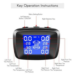 Image 4 - TPMS, Sistema Solar inalámbrico de monitoreo de presión de neumáticos LCD con 4 sensores externos XIU