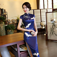 Hot Sale Traditional Chinese Dresses Women Long Qipao Dress New Silk Satin Qipao Sexy Slim Printed Cheongsam Plus Size M 3XL