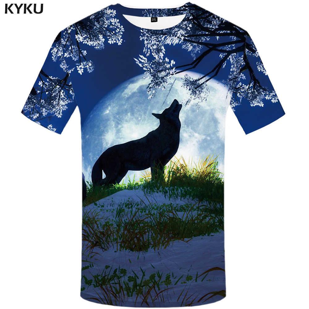 Kyku ウルフ tシャツ銀河トップスムーン tシャツおかしい服 tシャツ服男性メンズ男性クール XS-8XL
