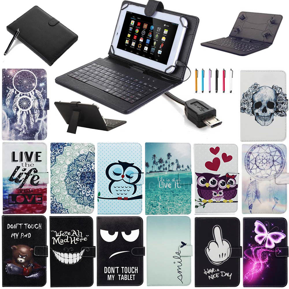 HOT Cute Printing 7 7.9 8 Universal Case Cover with USB Keyboard For Android Tablet For Samsung Tab For Lenovo For LG