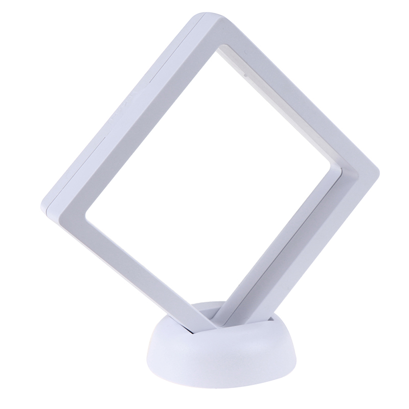 90*90mm White 3D Display Frame Holder Box Case Stand Floating Jewelry Coin