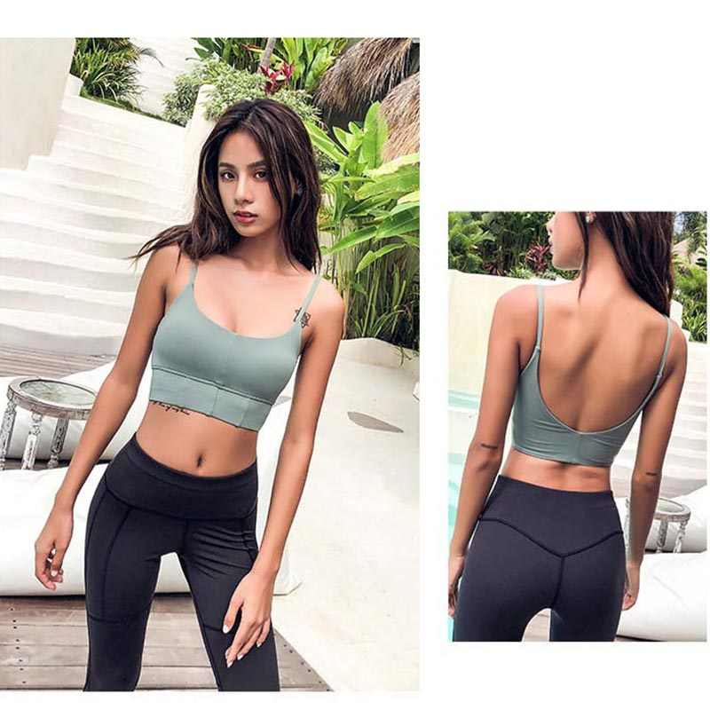 55f4faea12 ... Autumn New Thin Strap Sports Bra Sexy Low Cut Shockproof Womens Running  Bras Scoop Back Longline ...