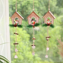 Mini Christmas Wooden Hanging Ornaments Pendant String with Burlap Rope for Home Tree Bar Shop Decor Y