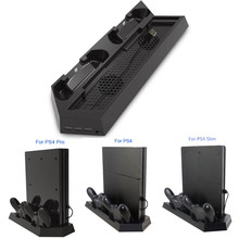 For PS4 / Pro Slim Game Console Vertical Stand Charger Dual Controller Charging Station with Cooling Fan Cooler