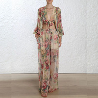 High Quality 2018 Floral Print Casual 2 Pieces Sets V neck Long Sleeve Top and Long Pants Beach Boho Two Pieces