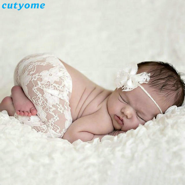 Cutyome 2pcs set newborn photography props white lace pants bow headband for baby boys