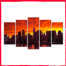 5 Pieces Canvas Wall Art City Prints Wall Painting Poster Modern Canvas Art Pictures For Living Room Home Decor Abooly