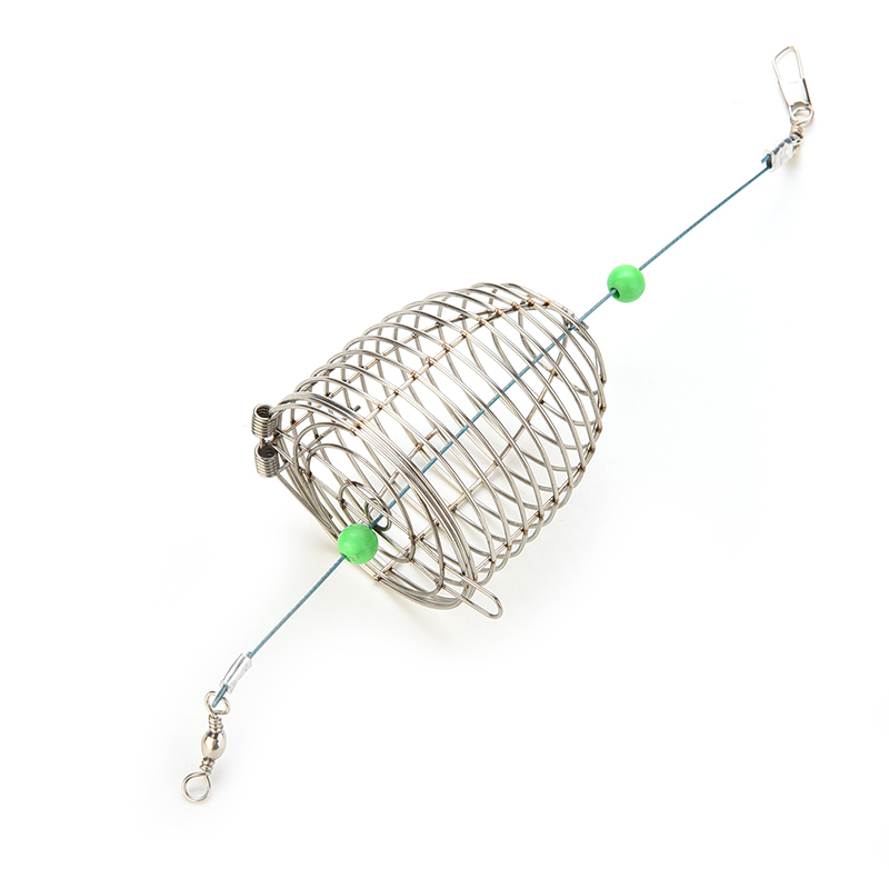 Small Bait Cage Fishing Trap Basket Feeder Holder Stainless Steel Wire Fishing Lure Cage Fish Bait Fishing Accessories Tackle