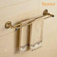 Beelee BL7602A Free Shipping European Style Top Grade Bath Towel Rod Antique Brass Dual Rod Towel