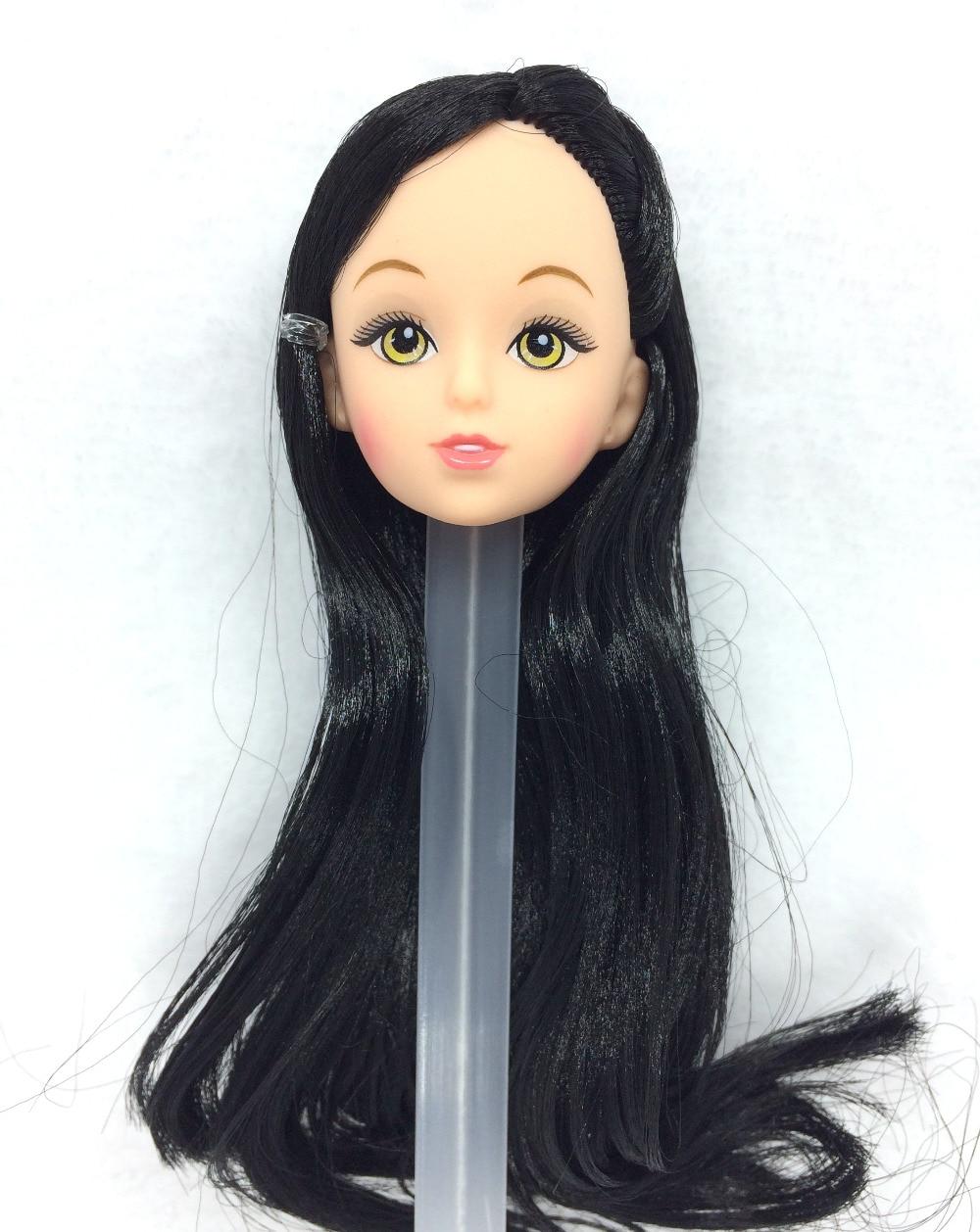 NK Satu Pcs Mode Boneka Kepala Rambut Hitam DIY Aksesoris Untuk Barbie Kurhn Doll Terbaik Gadis Hadiah Anak DIY Mainan 024J