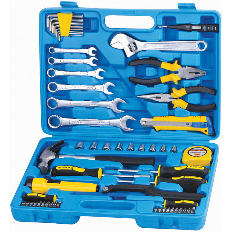 Professional 58 PCS Repairing Tool Case Kit Set Household With Wrenches Pliers Hammer Tape Measure font