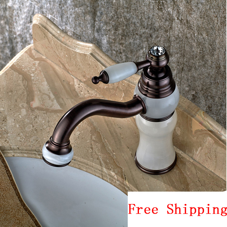 White Jade and Oil Rubbed Bronze bathroom basin faucet, Brass wash basin faucet cold and hot, Antique mixer water tap faucets high quality new kitchen faucet antique black brass hot and cold water mixer sink mixer tap wash basin faucet oil rubbed bronze