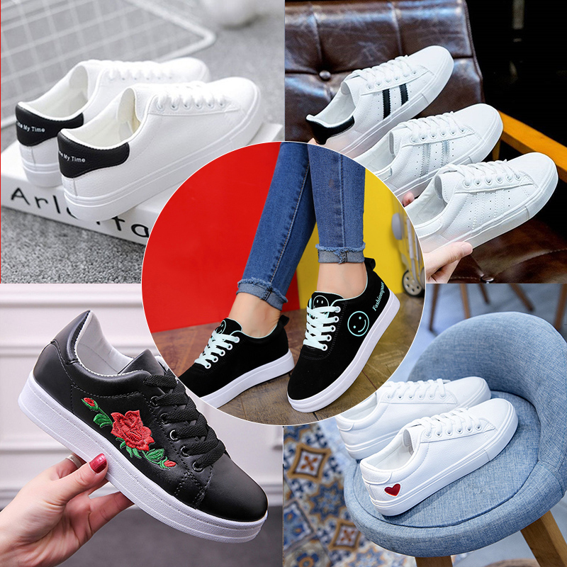 Women Sneakers 2019 Breathable White Sneakers Women Leather Vulcanize Shoes Lace Up Platform Shoes Women Casual Shoes