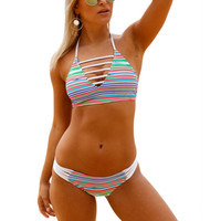 High Neck Bikini Cropped Women Swimsuits Bikinis Women S 2018 Swimwear Female Departure Beach May Vintage