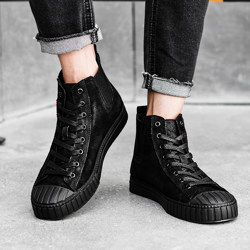 Winter 2018 new Korean version genuine leather fashion high top shoes with fleece warm fastener casual men 39 s shoes 5 in Men 39 s Casual Shoes from Shoes