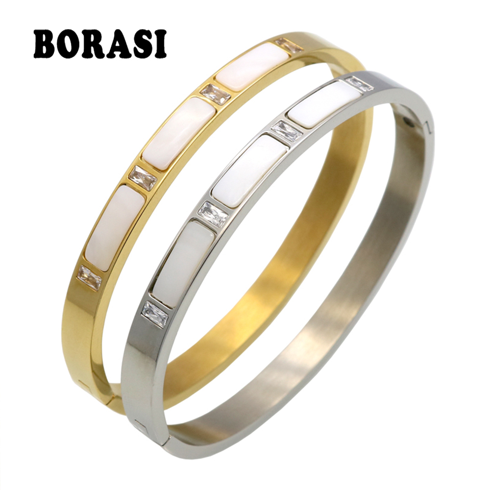Gold Color Stainless Steel Natural Shell Bracelets Bangles, Roman Letter Crystal Bangle For Women Jewelry pulseiras joyas msx 12mm roman numerals bangle bracelet cuff bracelets for women gold color bangle stainless steel bangles jewelry wholesale