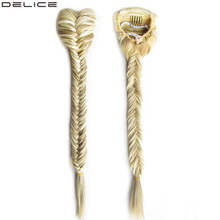 Delice 20 Long Braided Fishtail Ponytails Womens Clip In Straight Pony Tail With Elastic Drawstring Rope Synthetic Hair