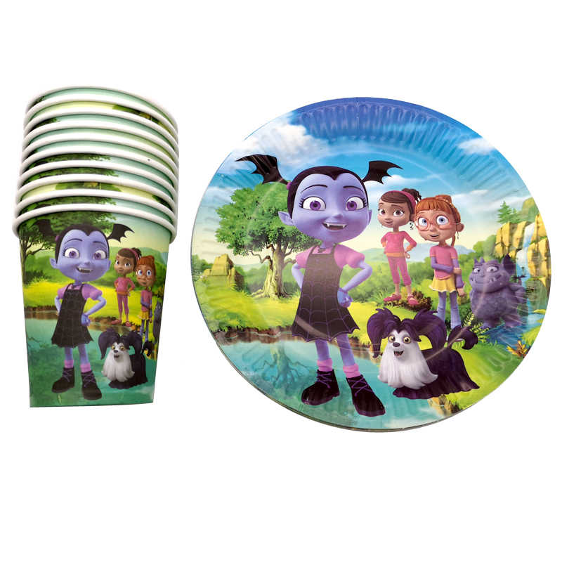 60PCS Birthday Events Party Vampirina Theme Glass Dishes Decorate Cups Plates Happy Baby Shower Girls Kids Favors Tableware Set