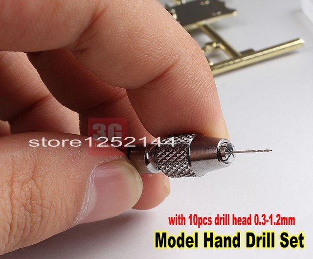 Precision Model Hand Drill Set with 10pcs  0.3mm 1.2mm Drill Head For Model DIY Drill Tool Gundam Model Tool
