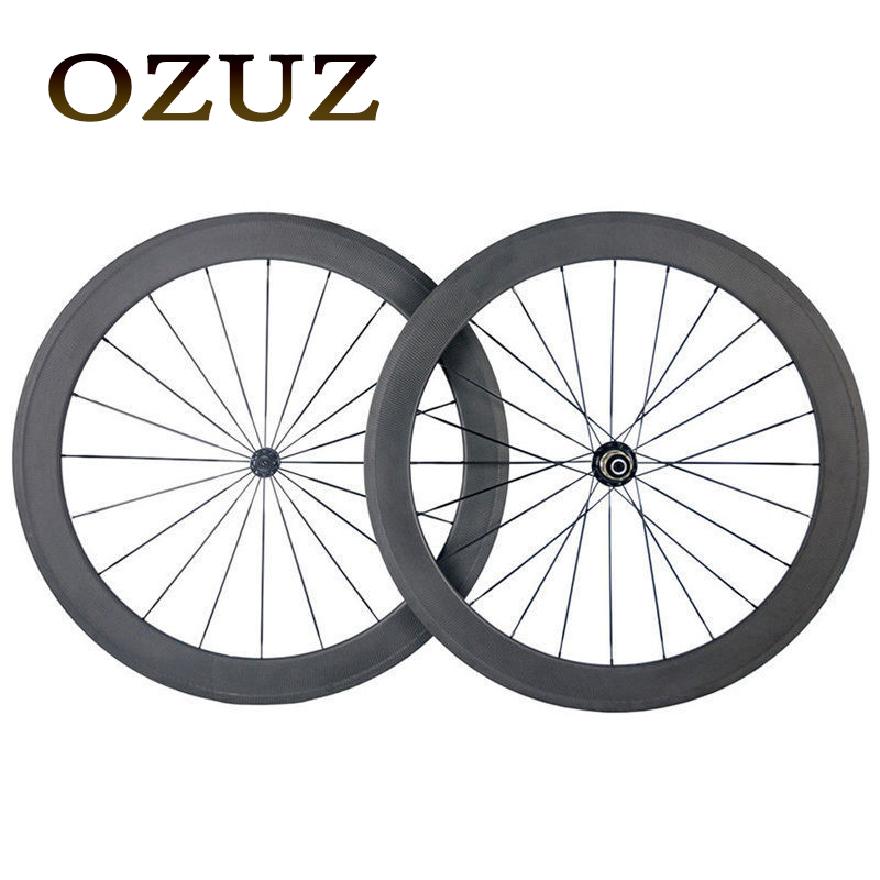 OZUZ Top Quality Super light Bicycle Carbon Clincher Wheelset 50mm Depth Chinese 700C Carbon Wheels Road Bike Powerway R13 Hub richter 12224255111 28