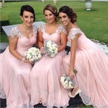 Elegant Lace Pink Chiffon Long Dress New Party Gowns Bridesmaid Dresses Vestidos de Festa Applique Beaded Cap Sleeves Prom Dress