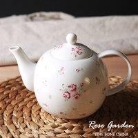 עצם סין באיכות גבוהה קומקומי פסטורלי פרחוני מודפס פרח קטן 900 ml קומקום קרמיקה סירי קפה עלה חמוד Drinkware קומקום