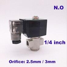 """GOGO 2 way кувшин для воды из нержавеющей стали нормально открытый электромагнитный клапан ss 1/"""" AC 220V отверстия 2,5 мм/3 мм нулевого давления старт Тип штекера"""