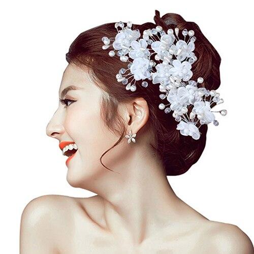 New Arrival 1Pc Flower Faux Pearl Wedding Hair Pin   Headwear   White Hair Clip Bride Jewelry