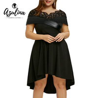 AZULINA Plus Size Dress V Neck Short Sleeves Lace Foldover High Low Party Dress Sexy Black