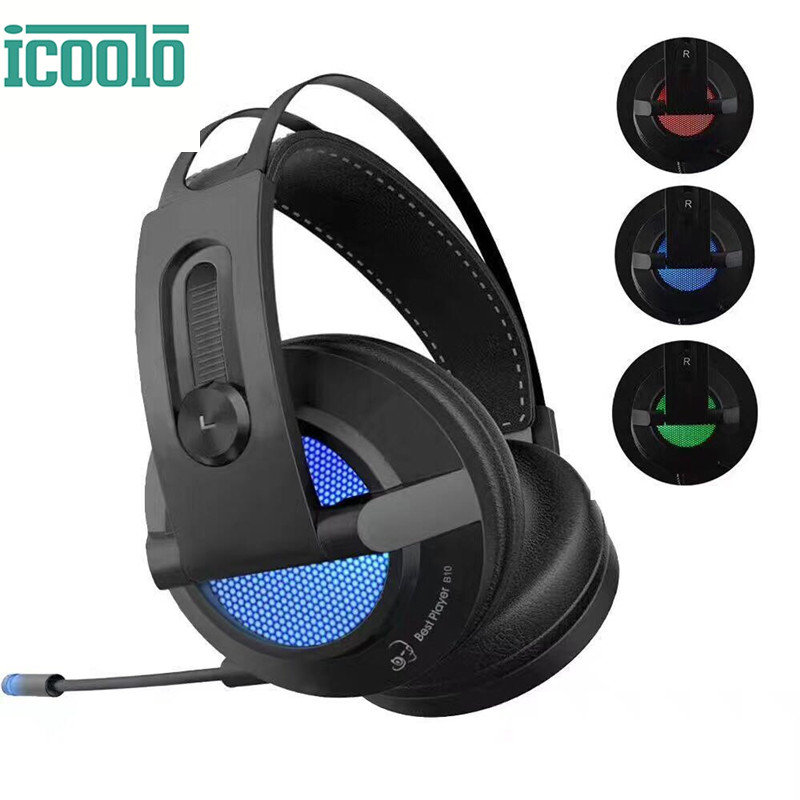 ICOOLO B10 Headset Gaming Headphone 7.1 Vibration Active Noise Cancellation Gamer Headset LED Breathing Light Headphone with Mic g1100 vibration function professional gaming headphone games headset with mic stereo bass breathing led light for pc gamer