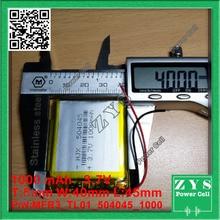 Embalaje de seguridad (Nivel 4) 504045 batería de polímero de litio 3,7 V 1000 MAH 5*40*45mm, con Placa de Protección de Batería