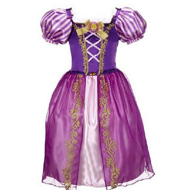 New Baby Meninas Vestidos Crianças Branca de Neve Vestidos de Princesa Rapunzel Cinderela Aurora Roupas Halloween Traje Do Partido Dos Miúdos