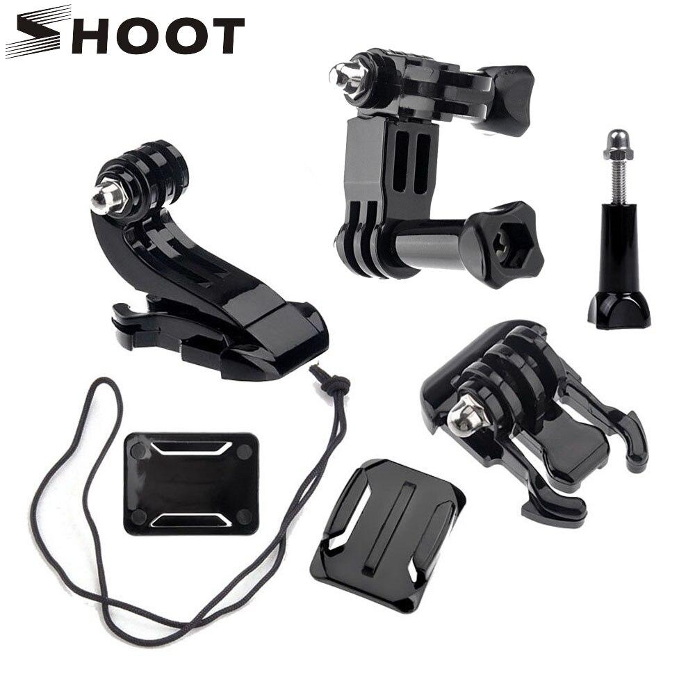 Disparar frente lado casco Accesorios set en forma de j Bases soporte para GoPro Hero 5 6 3 4 xiaomi Yi 4 K sjcam Go Pro kits