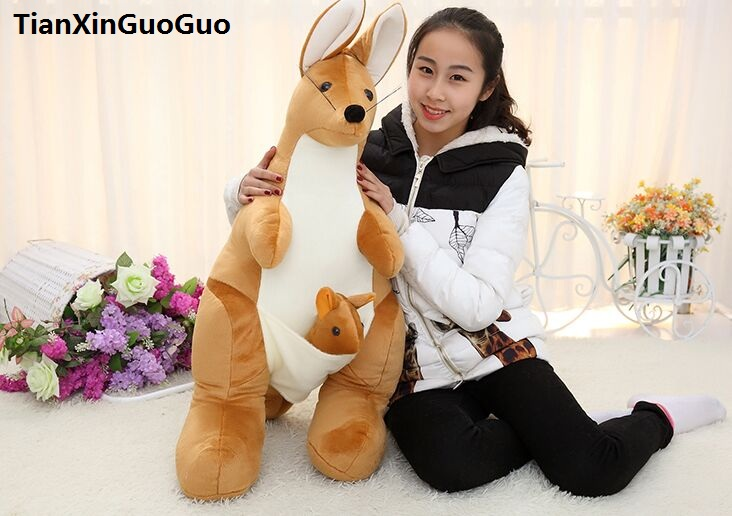 lovely light brown kangaroo plush toy large 115cm cartoon kangaroo soft doll hugging pillow birthday gift s0882 lovely giant panda about 70cm plush toy t shirt dress panda doll soft throw pillow christmas birthday gift x023