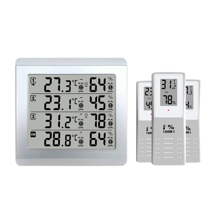 все цены на LCD Digital Wireless Indoor/Outdoor Thermometer Hygrometer Four-channel Temperature Humidity Meter Weather Station онлайн