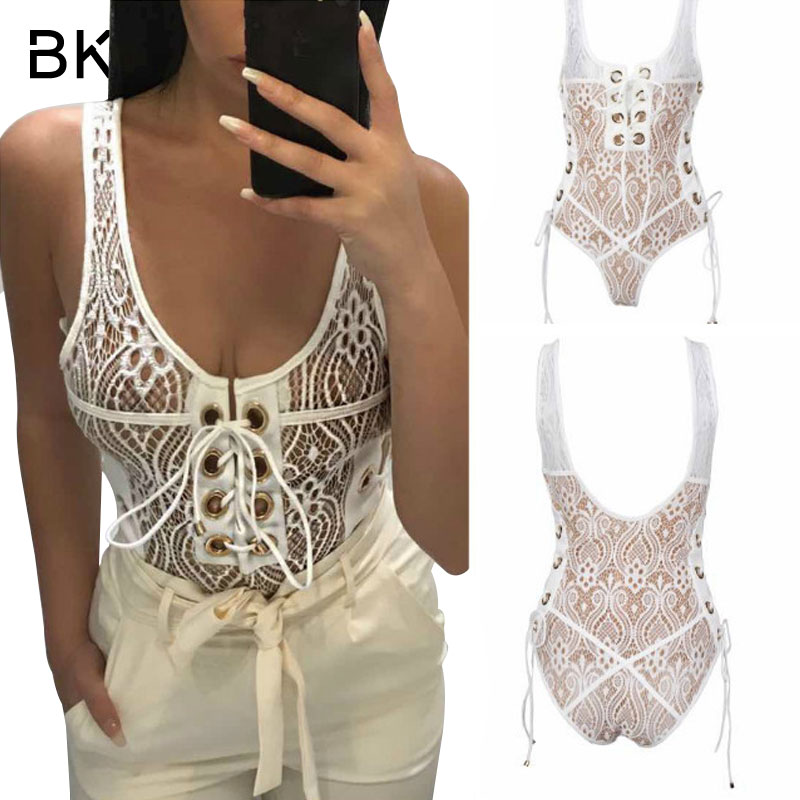 BKLD Sexy Lace Bodysuit Women Backless U Neck See Through Skinny Body Jumpsuit Ladies Bandage Romper Combinaison Short Playsuits