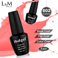 3 Pcs ibdgel 15ML Nails Color Gel polish Set Top Base Coat Artist Led Uv Gel Varnish Long Lasting esmalte Nail Gel Packing Well