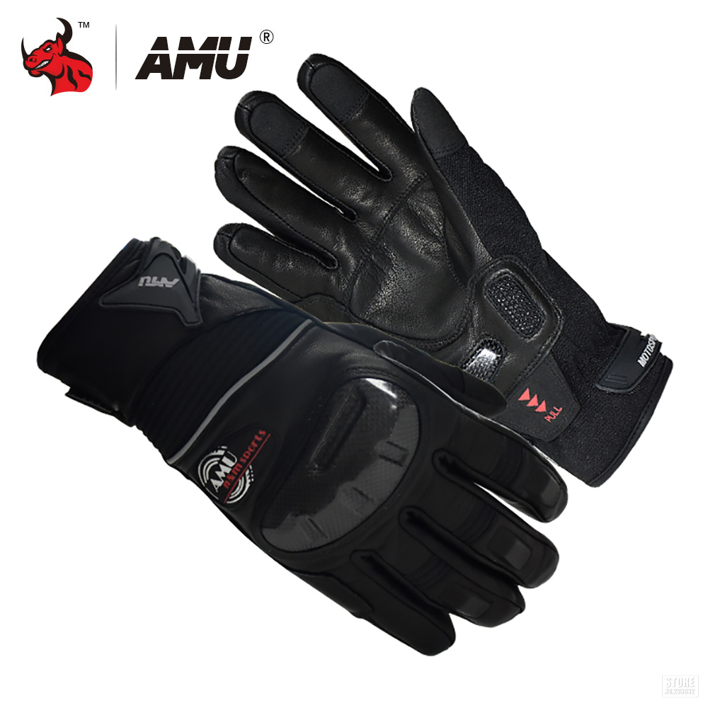 AMU Motorcycle Gloves Genuine Cow Leather Moto Gloves Touch Screen Waterproof Motocross Gloves Motorbike Riding Gloves