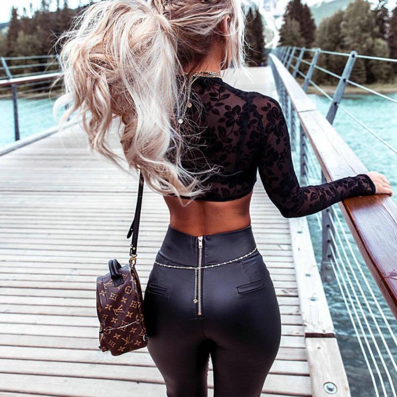 Black Sexy Women Leggins Thin Faux Leather Stretchy Leggins Back Zipper Push Up Trousers   Leggings   Calzas Mujer Leggins   Leggings