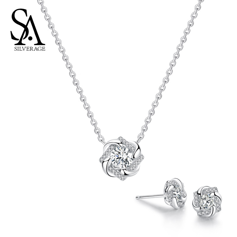 SA SILVERAGE 925 Sterling Silver Flower Stud Earrings Necklaces Jewelry Sets 925 Silver AAA Zirconia Earrings