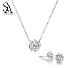 SA SILVERAGE 925 Sterling Silver Flower Stud Earrings Necklaces Jewelry Sets AAA Zirconia