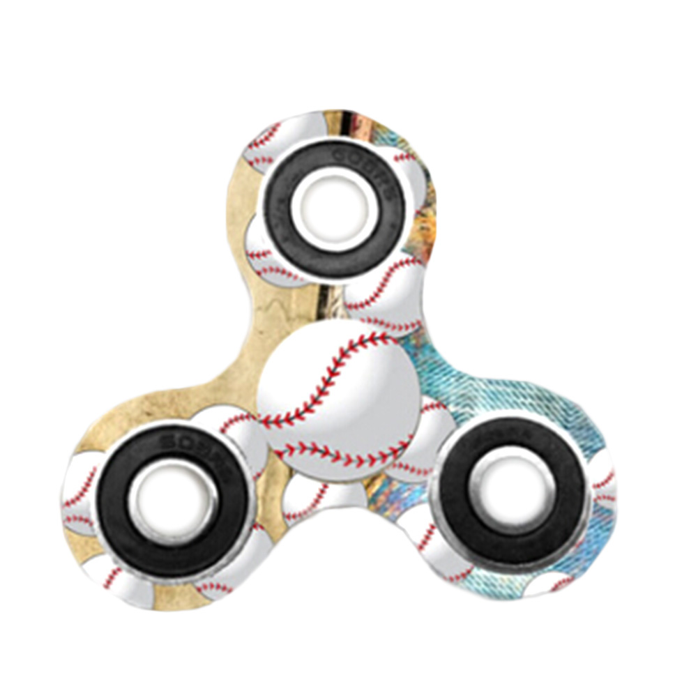 2017 New Funny Baseball Fidget Spinner Triangle Single Finger Decompression Gyro Gift Stress Relief Toy
