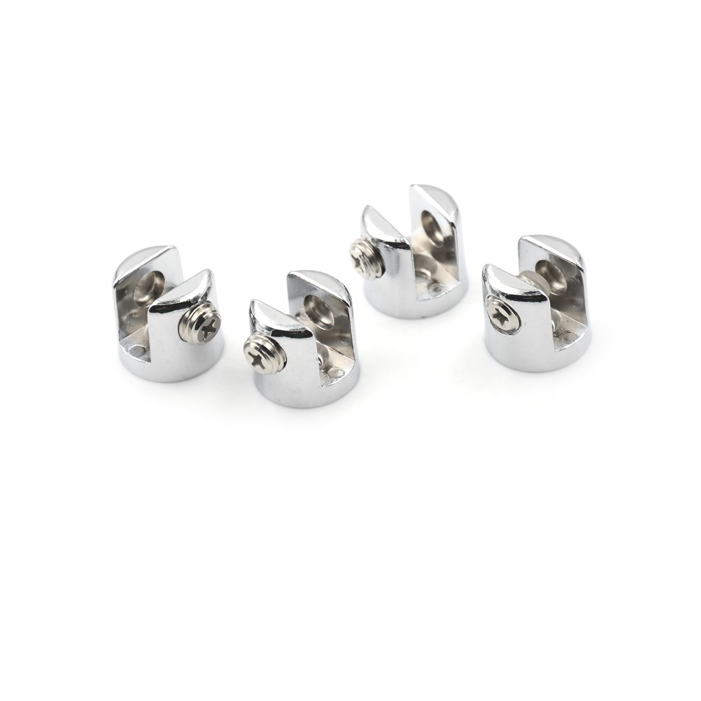 4xGlass Brackets Chrome Plated ZINC Alloy 6mm-8mm Adjustable Screw For Fit Most Glass High Quality