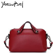 YeeSupSei Women Vintage Handbag Double Handle Zipper Totes Female Cow Leather Shoulder Bags Shopping Traveling